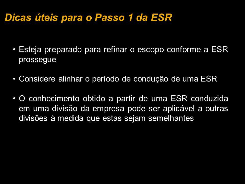 Esteja preparado para refinar o escopo conforme a ESR prossegue Considere alinhar o período de condução de uma ESR O conhecimento obtido a partir de u