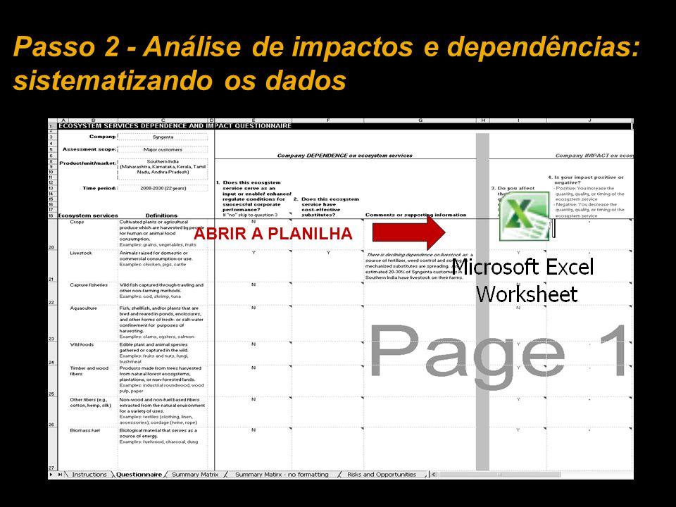 ABRIR A PLANILHA Passo 2 - Análise de impactos e dependências: sistematizando os dados