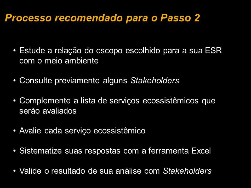 Estude a relação do escopo escolhido para a sua ESR com o meio ambiente Consulte previamente alguns Stakeholders Complemente a lista de serviços ecoss