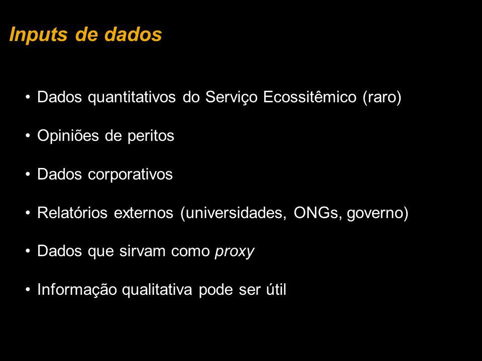 Dados quantitativos do Serviço Ecossitêmico (raro) Opiniões de peritos Dados corporativos Relatórios externos (universidades, ONGs, governo) Dados que