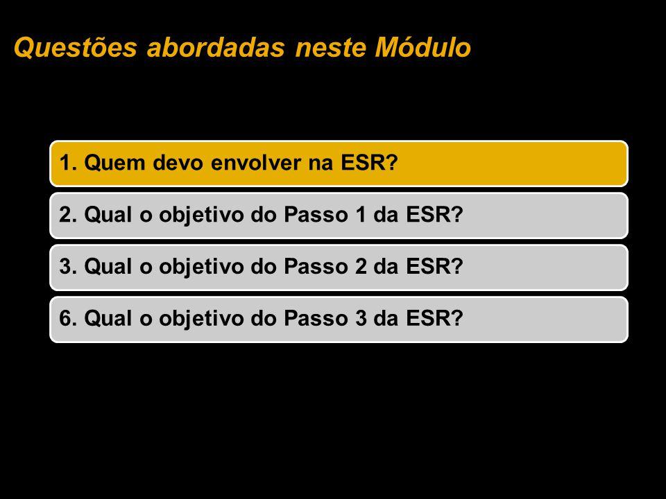 Questões abordadas neste Módulo 1. Quem devo envolver na ESR?2. Qual o objetivo do Passo 1 da ESR?3. Qual o objetivo do Passo 2 da ESR?6. Qual o objet