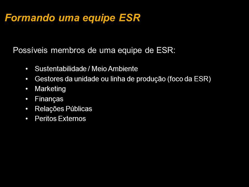 Possíveis membros de uma equipe de ESR: Sustentabilidade / Meio Ambiente Gestores da unidade ou linha de produção (foco da ESR) Marketing Finanças Rel