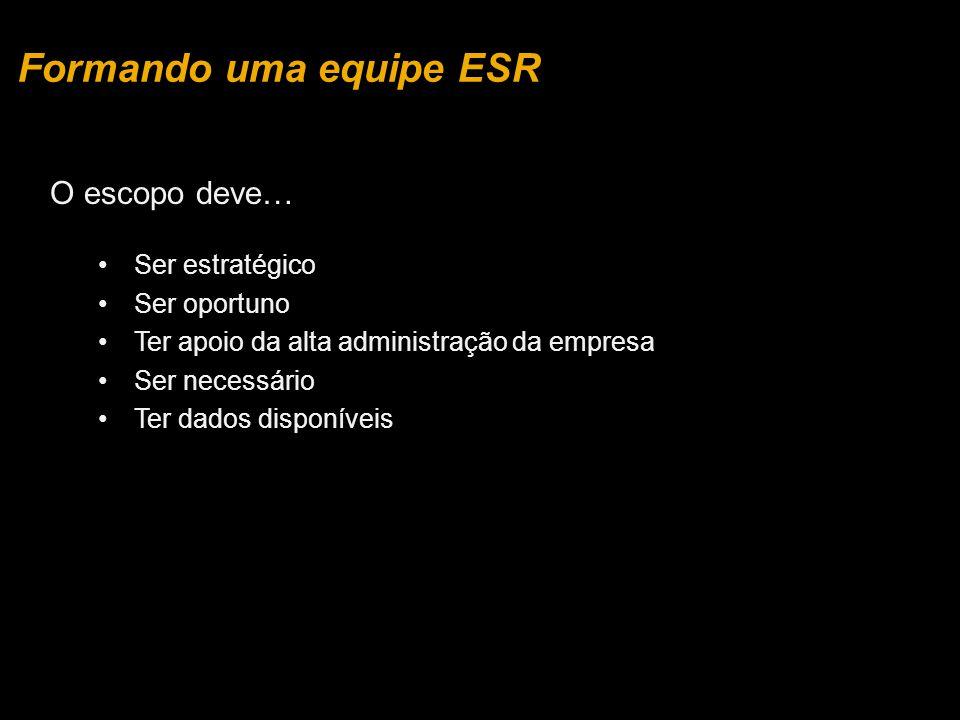 O escopo deve… Ser estratégico Ser oportuno Ter apoio da alta administração da empresa Ser necessário Ter dados disponíveis Formando uma equipe ESR