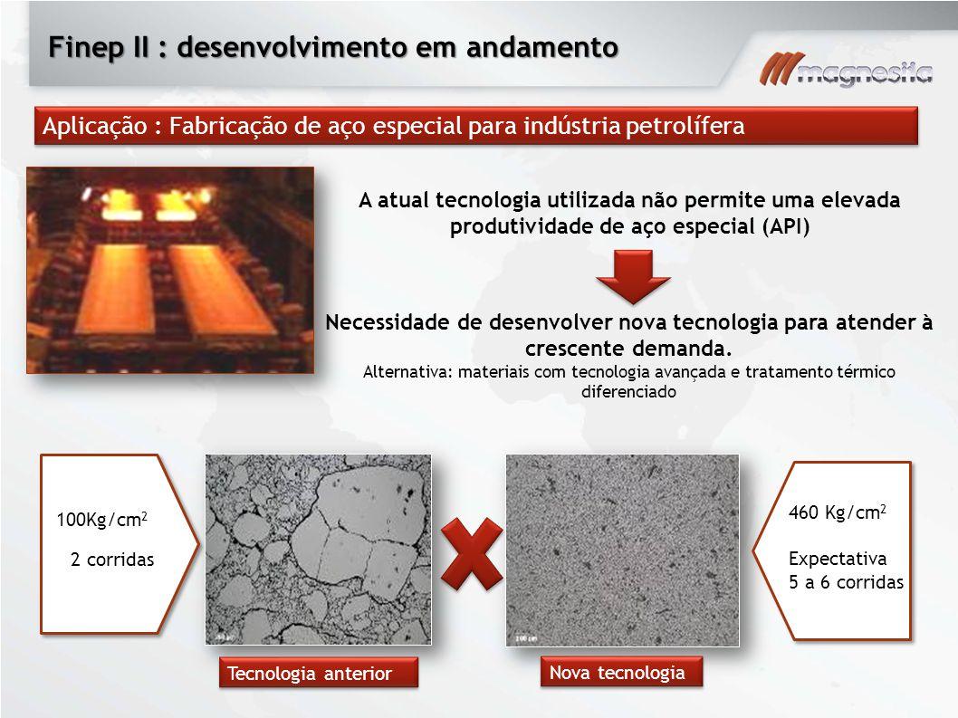 Finep II : desenvolvimento em andamento Tecnologia anterior Nova tecnologia Aplicação : Fabricação de aço especial para indústria petrolífera Necessid