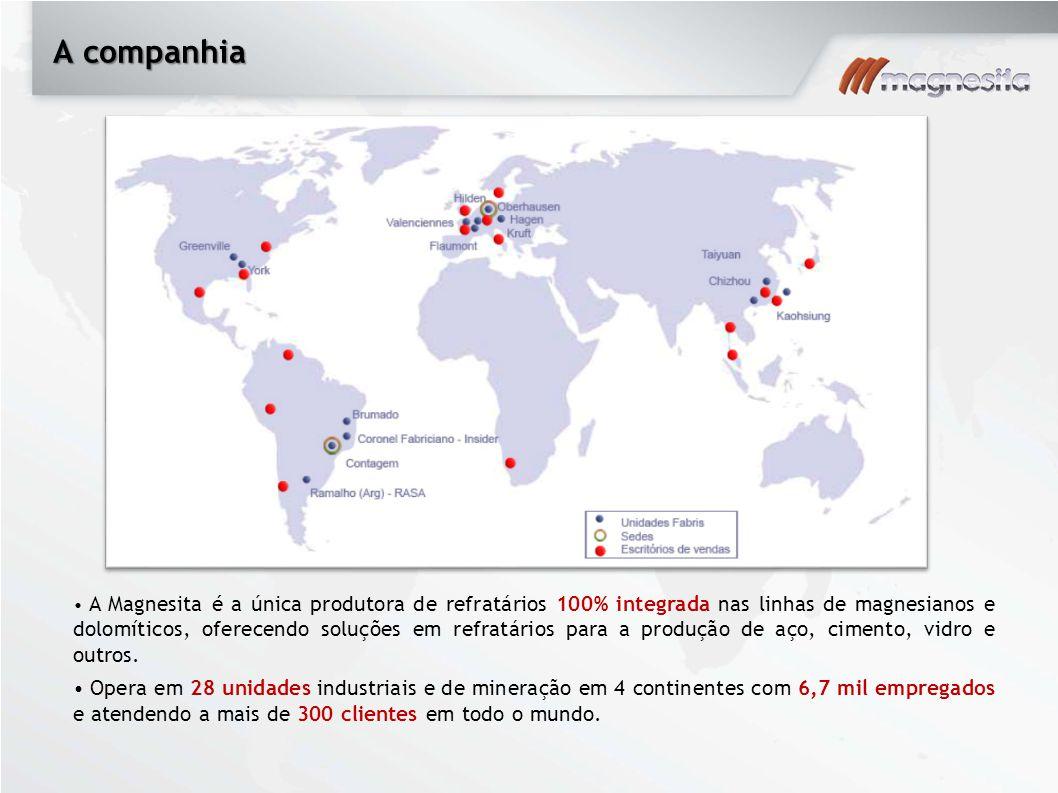 A companhia A Magnesita é a única produtora de refratários 100% integrada nas linhas de magnesianos e dolomíticos, oferecendo soluções em refratários