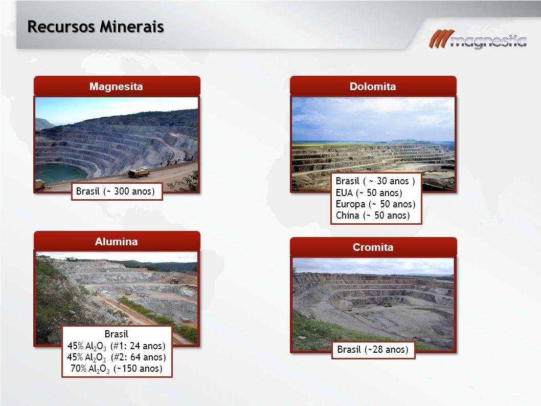 Recursos Minerais Magnesita Brasil (~ 300 anos) Dolomita Brasil ( ~ 30 anos ) EUA (~ 50 anos) Europa (~ 50 anos) China (~ 50 anos) Alumina Brasil 45%