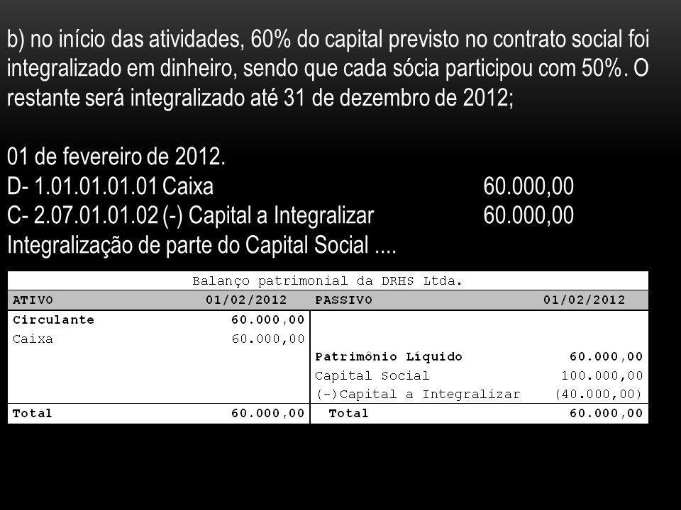 b) no início das atividades, 60% do capital previsto no contrato social foi integralizado em dinheiro, sendo que cada sócia participou com 50%.