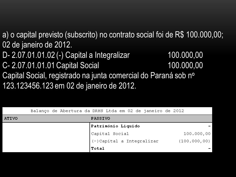 a) o capital previsto (subscrito) no contrato social foi de R$ 100.000,00; 02 de janeiro de 2012. D- 2.07.01.01.02 (-) Capital a Integralizar100.000,0