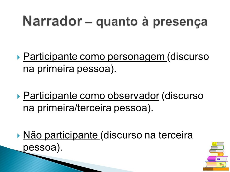 Participante como personagem (discurso na primeira pessoa). Participante como observador (discurso na primeira/terceira pessoa). Não participante (dis