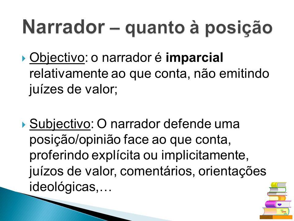 Objectivo: o narrador é imparcial relativamente ao que conta, não emitindo juízes de valor; Subjectivo: O narrador defende uma posição/opinião face ao
