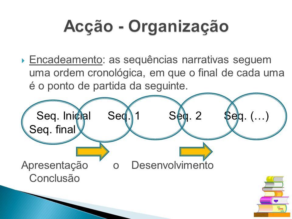 Encadeamento: as sequências narrativas seguem uma ordem cronológica, em que o final de cada uma é o ponto de partida da seguinte. Seq. Inicial Seq. 1