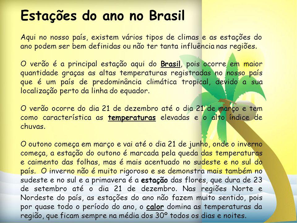 Estações do ano no Brasil Aqui no nosso país, existem vários tipos de climas e as estações do ano podem ser bem definidas ou não ter tanta influência