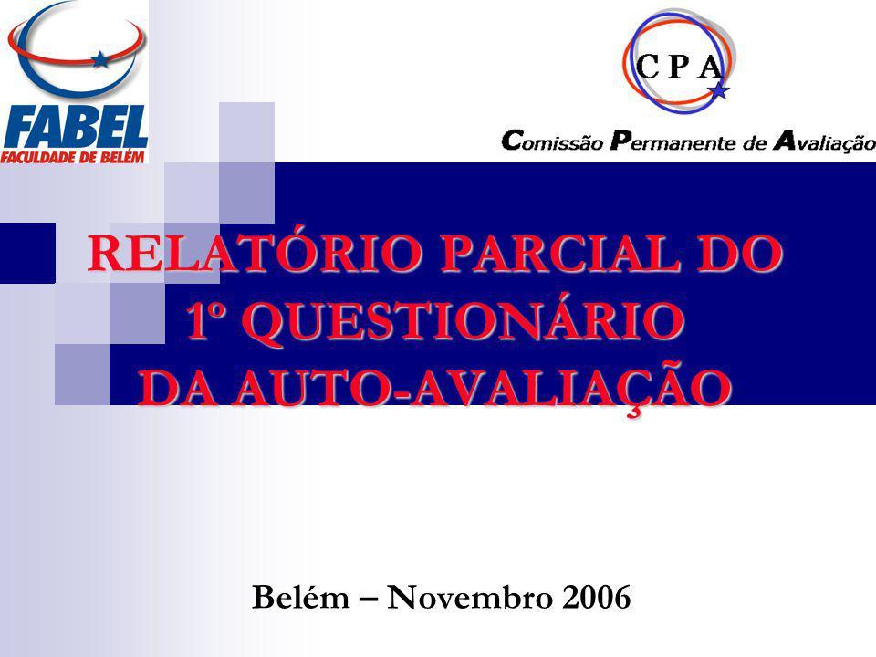 RELATÓRIO PARCIAL DO 1º QUESTIONÁRIO DA AUTO-AVALIAÇÃO Belém – Novembro 2006