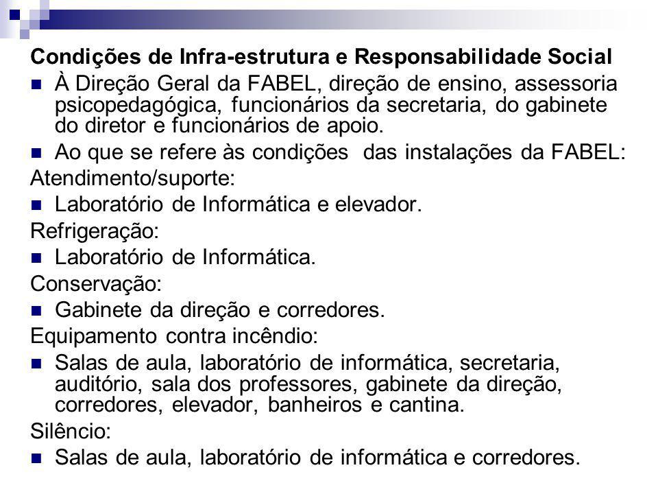 Condições de Infra-estrutura e Responsabilidade Social À Direção Geral da FABEL, direção de ensino, assessoria psicopedagógica, funcionários da secret