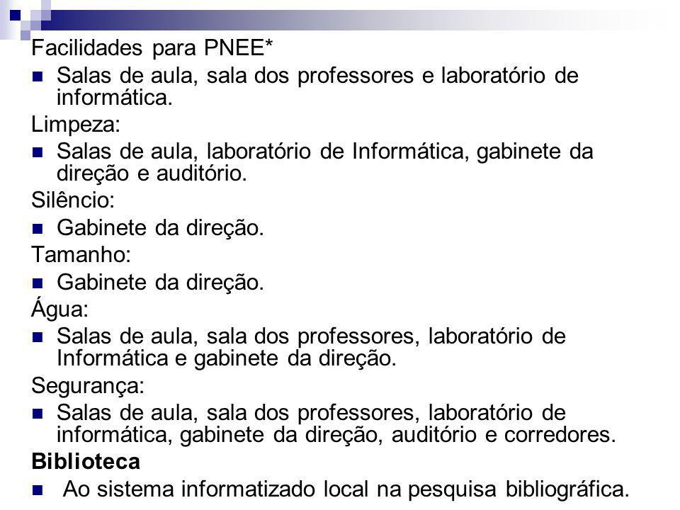 Facilidades para PNEE* Salas de aula, sala dos professores e laboratório de informática. Limpeza: Salas de aula, laboratório de Informática, gabinete