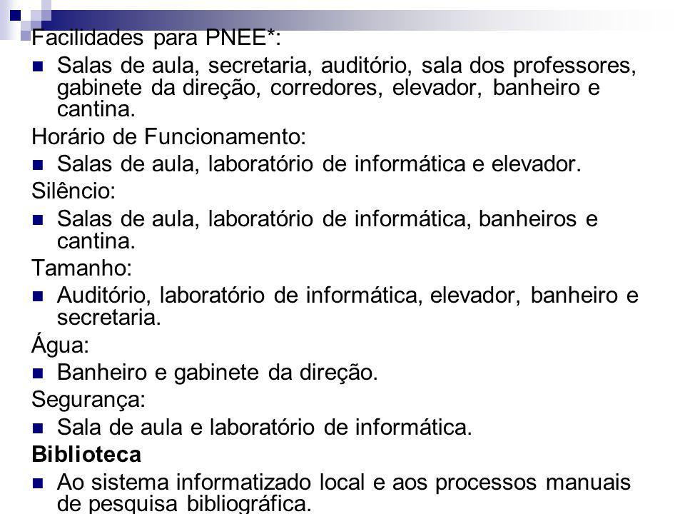 Facilidades para PNEE*: Salas de aula, secretaria, auditório, sala dos professores, gabinete da direção, corredores, elevador, banheiro e cantina. Hor