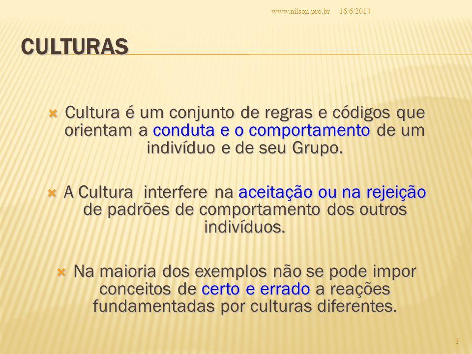 CULTURAS Cultura é um conjunto de regras e códigos que orientam a conduta e o comportamento de um indivíduo e de seu Grupo.