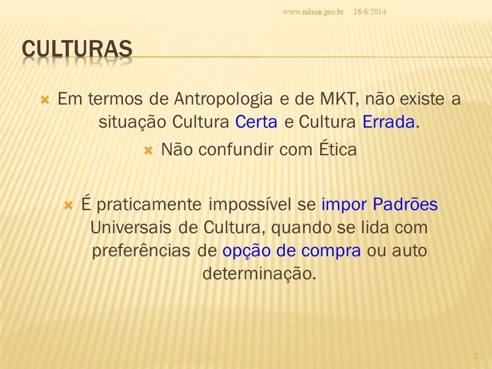 Em termos de Antropologia e de MKT, não existe a situação Cultura Certa e Cultura Errada. Não confundir com Ética É praticamente impossível se impor P