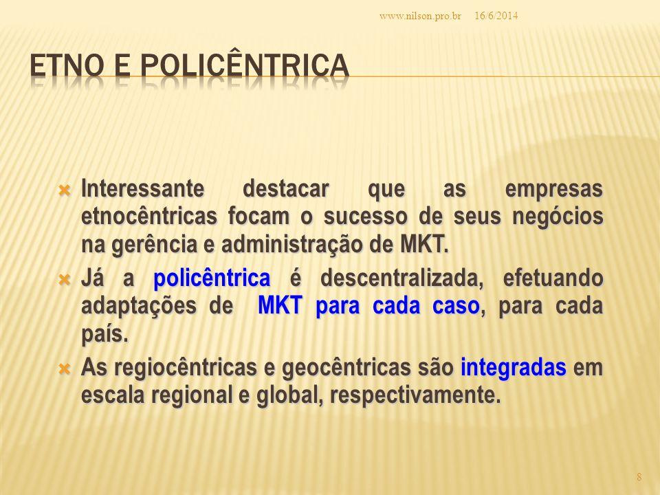 Interessante destacar que as empresas etnocêntricas focam o sucesso de seus negócios na gerência e administração de MKT.