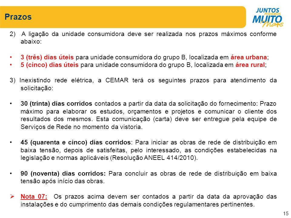 Prazos 2) A ligação da unidade consumidora deve ser realizada nos prazos máximos conforme abaixo: 3 (três) dias úteis para unidade consumidora do grup