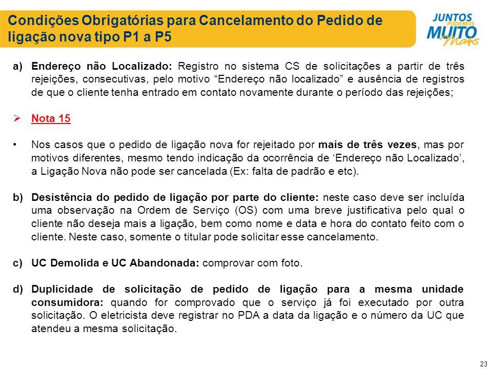Condições Obrigatórias para Cancelamento do Pedido de ligação nova tipo P1 a P5 a)Endereço não Localizado: Registro no sistema CS de solicitações a pa