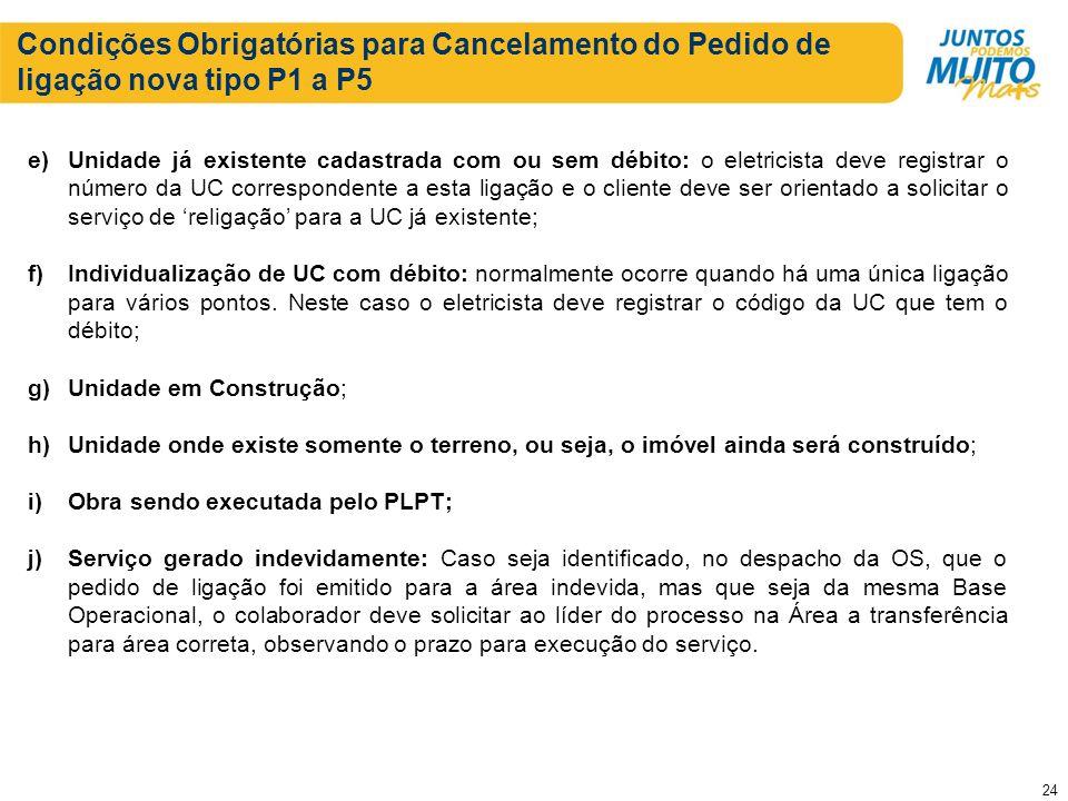 Condições Obrigatórias para Cancelamento do Pedido de ligação nova tipo P1 a P5 e)Unidade já existente cadastrada com ou sem débito: o eletricista dev