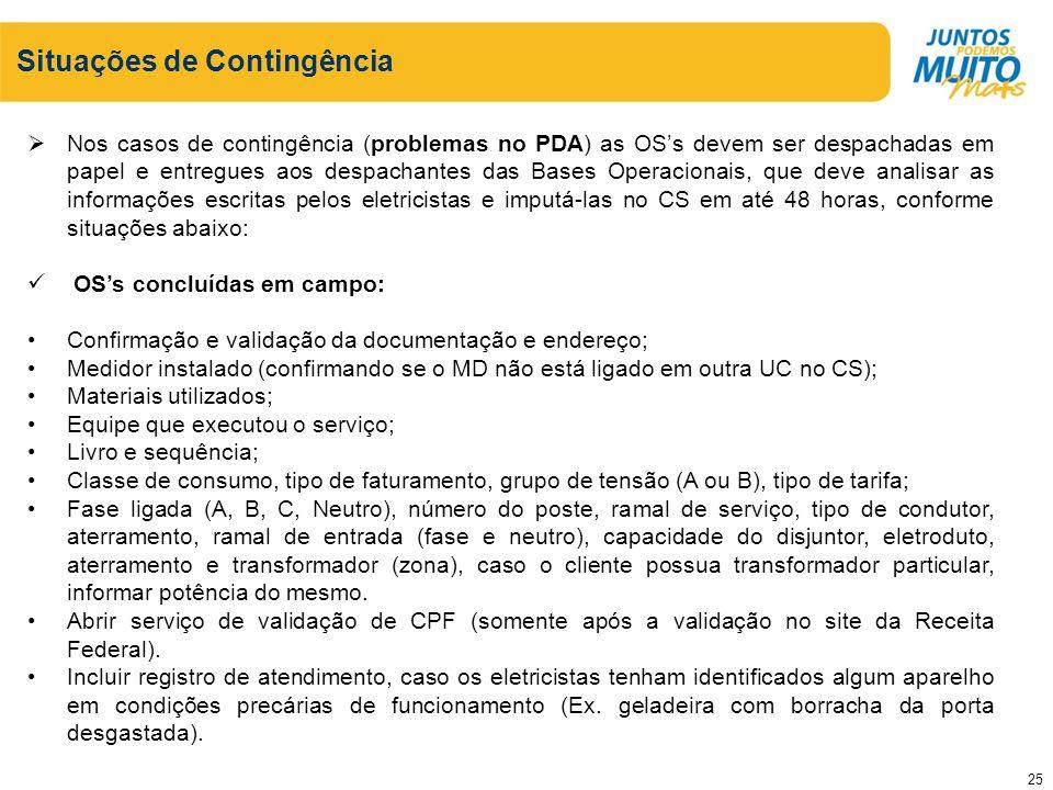 Situações de Contingência Nos casos de contingência (problemas no PDA) as OSs devem ser despachadas em papel e entregues aos despachantes das Bases Op