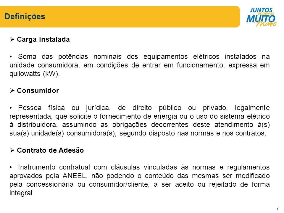 Definições Carga instalada Soma das potências nominais dos equipamentos elétricos instalados na unidade consumidora, em condições de entrar em funcion