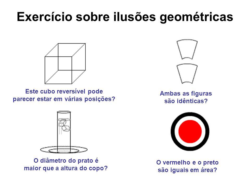 Exercício sobre ilusões geométricas O diâmetro do prato é maior que a altura do copo? Ambas as figuras são idênticas? O vermelho e o preto são iguais
