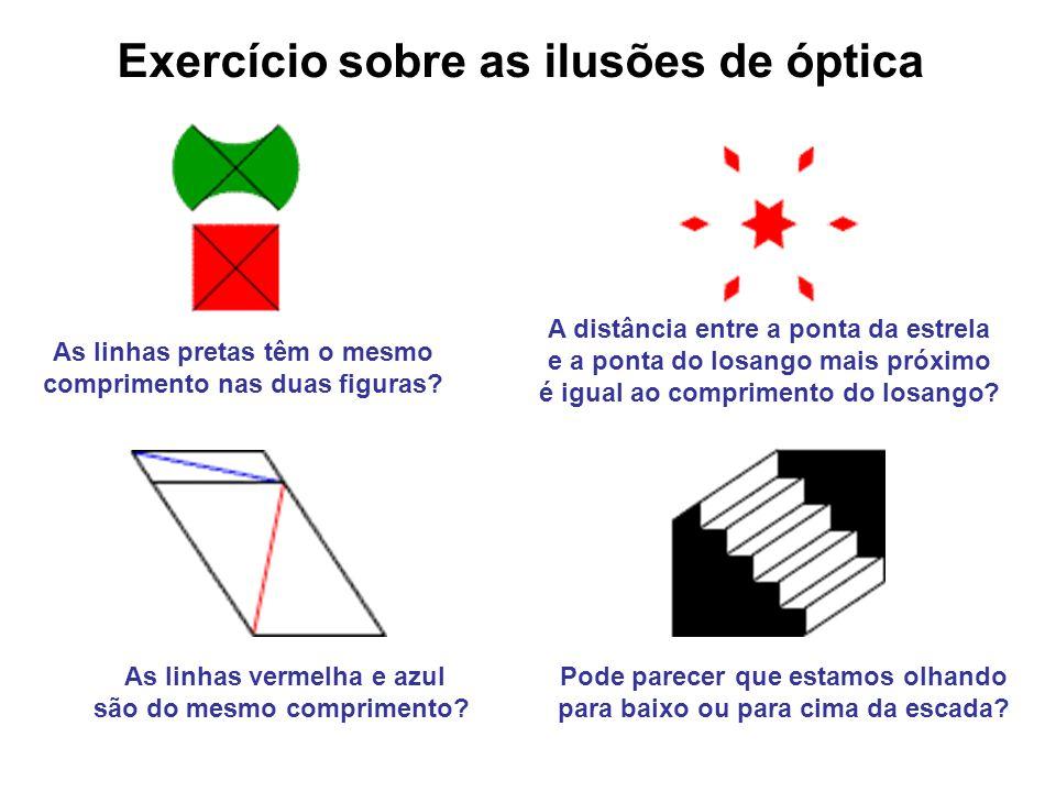As linhas pretas têm o mesmo comprimento nas duas figuras? As linhas vermelha e azul são do mesmo comprimento? A distância entre a ponta da estrela e