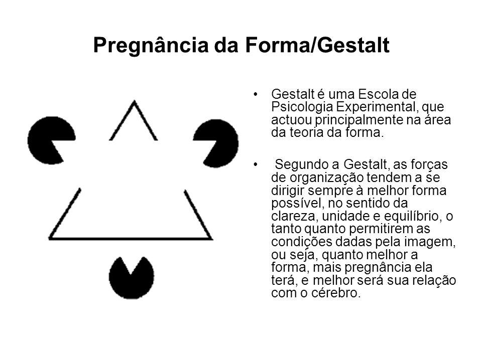 Pregnância da Forma/Gestalt Gestalt é uma Escola de Psicologia Experimental, que actuou principalmente na área da teoria da forma. Segundo a Gestalt,