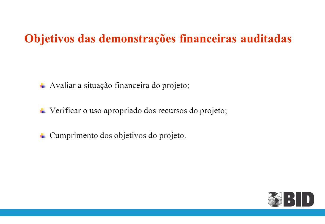 DEMONSTRAÇÕES FINANCEIRAS DO PROJETO AUDITADAS Artigo 7.03 (a) (iii) – Relatórios e demonstrações financeiras O Mutuário, ou o Órgão Executor, se pert