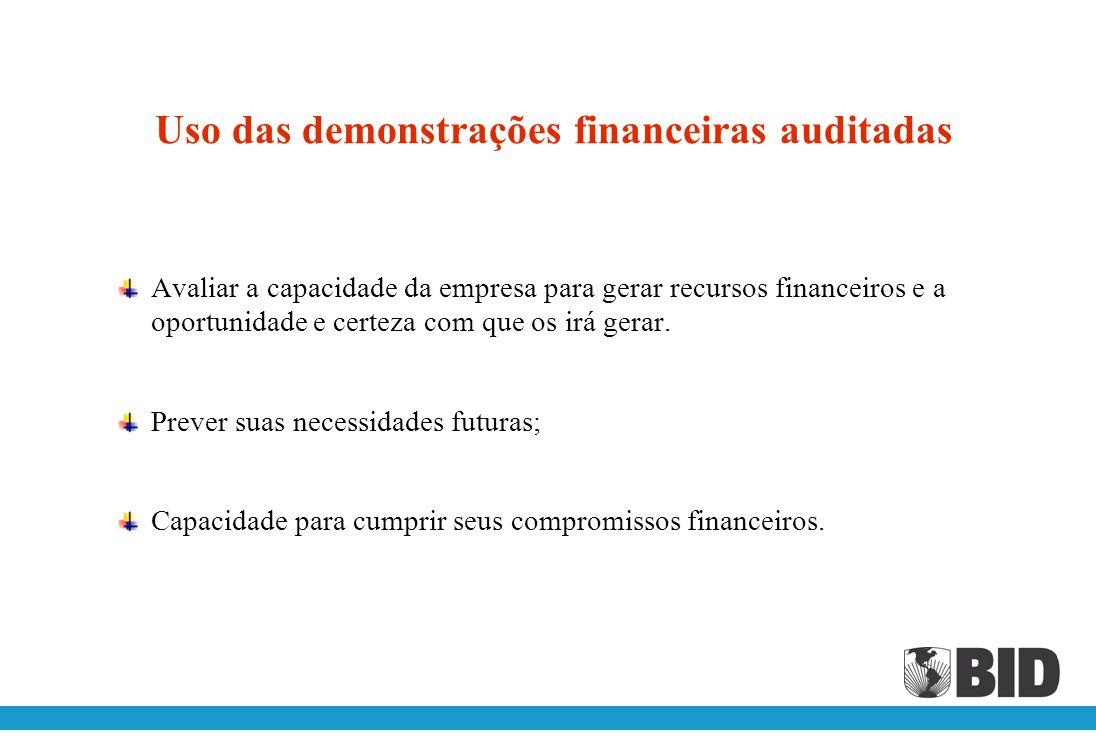 Objetivos das demonstrações financeiras auditadas Avaliar a situação financeira do projeto; Verificar o uso apropriado dos recursos do projeto; Cumprimento dos objetivos do projeto.