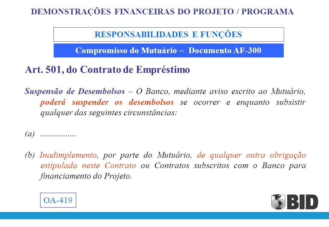 RESPONSABILIDADES E FUNÇÕES Compromisso do Mutuário – Documento AF-300 Proporcionar aos auditores uma cópia do Relatório de Progresso do Projeto, referente a 31/12/200X, para aplicação do procedimento requerido no parágrafo 5.03 (b), do AF-300.