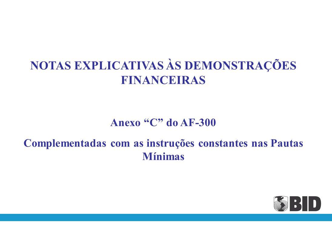 OBS.: Além das Demonstrações Financeiras Básicas o Banco poderá requer a demonstração de ativos e passivos (Balanço Patrimonial/Balanço Financeiro), d