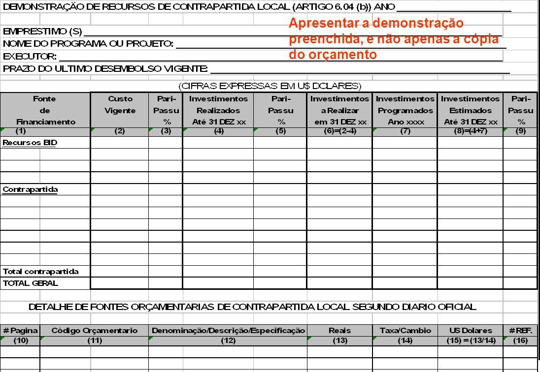 INFORMAÇÃO FINANCEIRA COMPLEMENTAR - AF-300, 6.02 (b) Montante e Oportunidade da Contribuição Local e de Terceiros Em US$ Dólar Informar os dados, ano