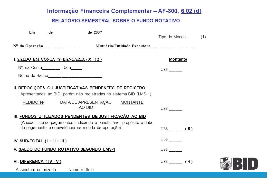 Montante desembolsado pelo Banco LMS-1 Disbursed life Dados extraídos do Relatório do Fundo Rotativo LMS-1 Available amount ( = ) LMS-1 Revolving Fund LMS-1 Valor cancelado do empréstimo