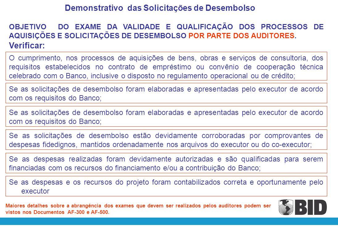Nº da Solicitação Data de Apresentação SolicitadoAprovadoDiferençaReferência e Anexos (CBR) BIDLocalTotalBIDLocalTotalBIDLocalTotal Programa: Contrato de Empréstimo BID nº Executor: Demonstrativo das Solicitações de Desembolso Período: 01/01/200X a 31/12/200X Em US$ Dólares (Local /Data) Assinatura Assinatura Nome/Cargo ou Função Nome/Cargo ou Função Deverão ser incluídas todas as Solicitações de Desembolso apresentadas ao Banco no exercício, independentemente da modalidade da Solicitação (ADF, RRF, DPS, DPB,AFJ)