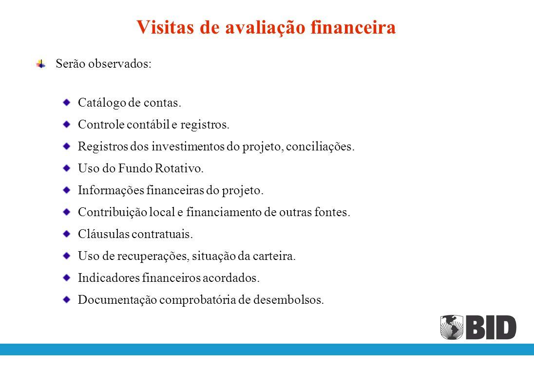 Avaliação financeira e institucional O BID realizará visitas para avaliar: A execução financeira do Projeto Centralizada x descentralizada A estrutura