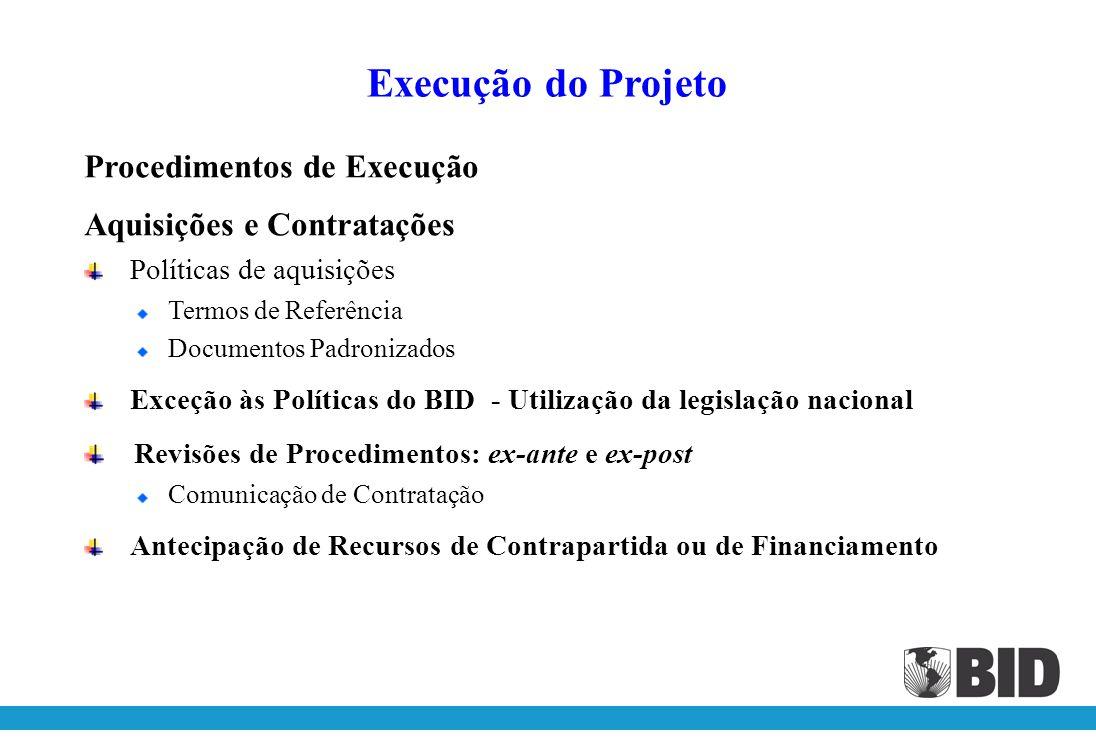 Procedimentos de Execução Preparação da Execução Cartão de Autógrafos Plano de Contas Solicitações de Desembolso Solicitações e Controle de Desembolsos e Pagamentos Fundo Rotativo Relatório do Fundo Rotativo Execução do Projeto