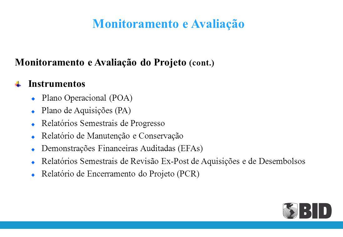 Monitoramento e Avaliação do Projeto Monitoramento O monitoramento do Projeto será baseado na programação de atividades e no detalhamento físico e financeiro dos Produtos Avaliação A avaliação do Projeto será baseada nas metas, na linha de base e nos respectivos indicadores anuais de Produtos e Resultados do Marco de Resultados Análise de Riscos Os riscos do Projeto serão analisados por meio da Matriz de Risco (Apêndice I do POD) Monitoramento e Avaliação