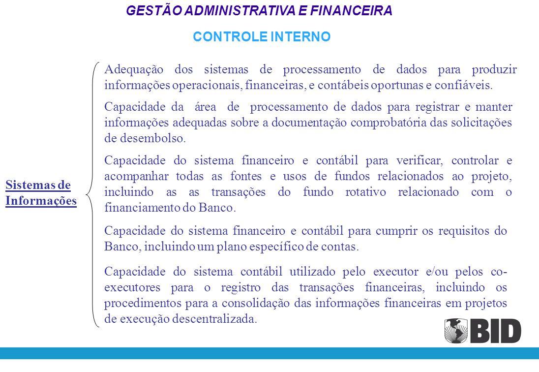 GESTÃO ADMINISTRATIVA E FINANCEIRA O relatório contendo as constatações feitas pelos auditores a serem informadas sobre o Sistema de Controle Interno