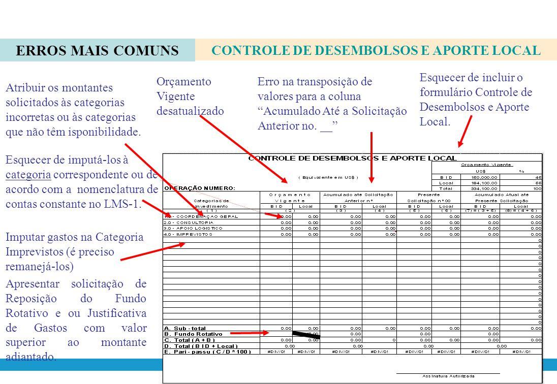 Registrar o n ° Empréstimo : /OC-BR Registrar o número da Solicitação anterior (exemplo n º 7) Registrar o número da Solicitação atual (exemplo n º 8)