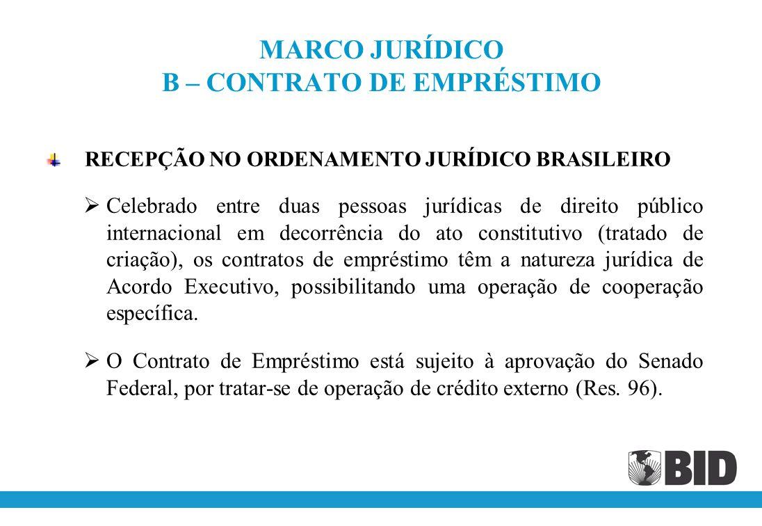 MARCO JURÍDICO B – CONTRATO DE EMPRÉSTIMO RECEPÇÃO NO ORDENAMENTO JURÍDICO BRASILEIRO Celebrado entre duas pessoas jurídicas de direito público internacional em decorrência do ato constitutivo (tratado de criação), os contratos de empréstimo têm a natureza jurídica de Acordo Executivo, possibilitando uma operação de cooperação específica.