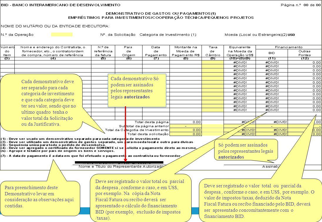 Registrar o n ° do Empréstimo: ____/OC-BR Mencionar o nome da entidade executora Indicar o número do pedido que deve ser seqüencial ao anterior Um dem