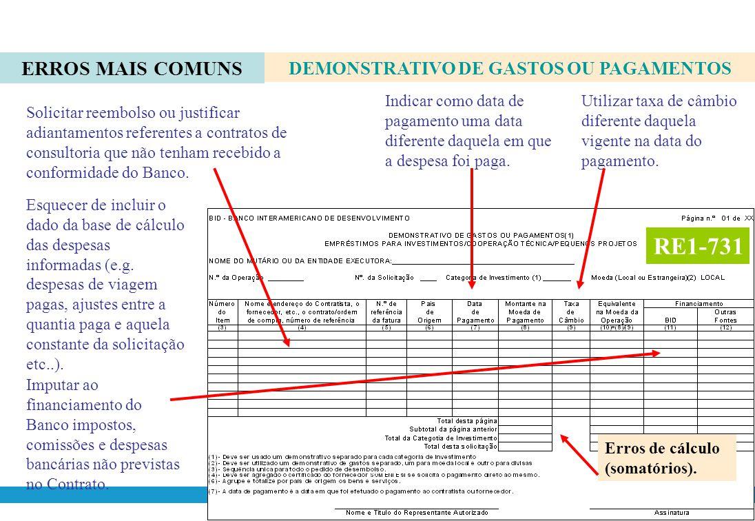 ERROS MAIS COMUNS RE1-731 DEMONSTRATIVO DE GASTOS OU PAGAMENTOS Solicitar reembolso de bens ou serviços que não sejam originários de países membros do Banco.