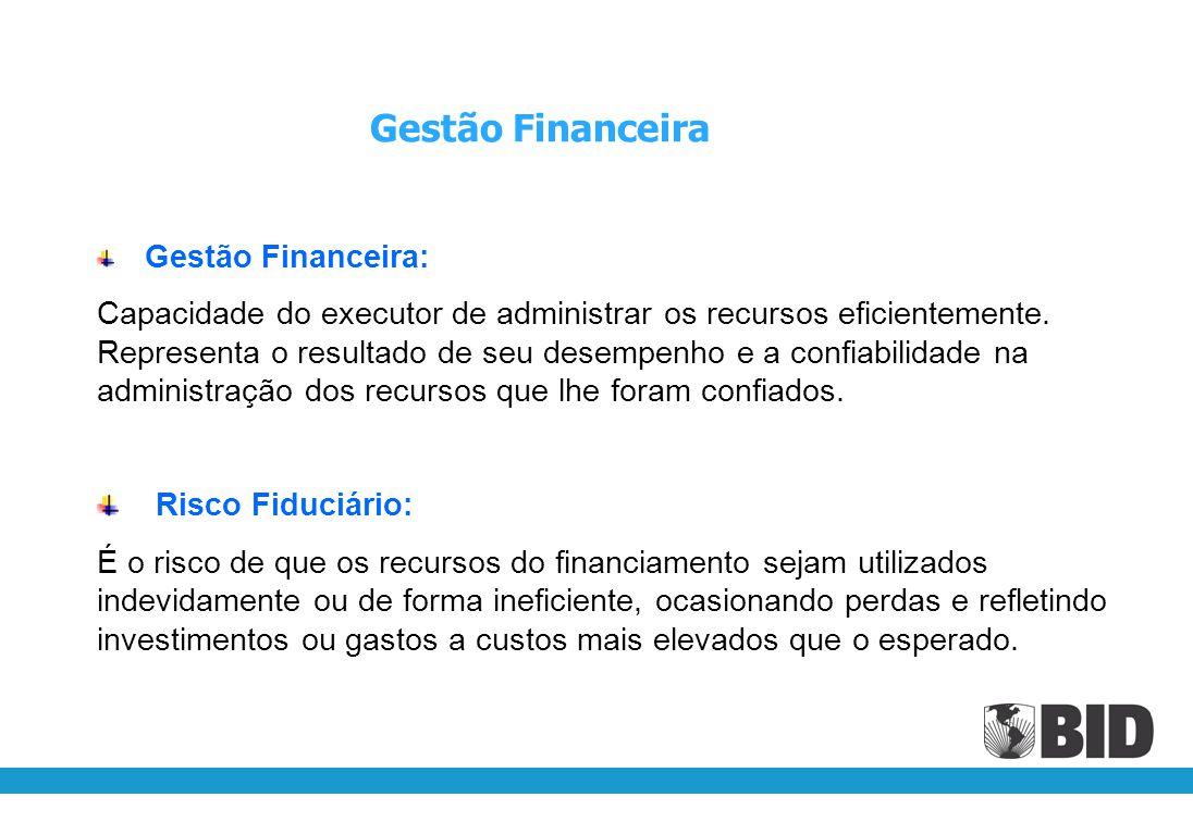 Gestão Financeira Gestão Financeira: Capacidade do executor de administrar os recursos eficientemente.
