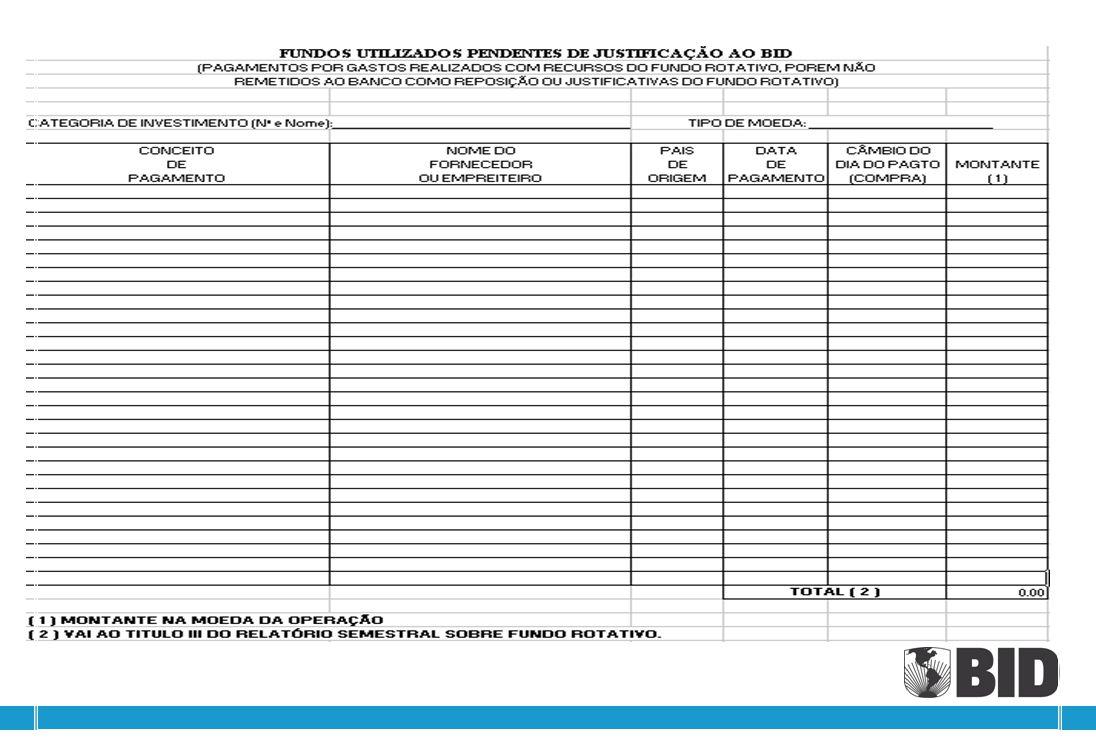 Formulário RE1-733 - PAGOS Fundos Utilizados Pendentes de Justificação ao BID