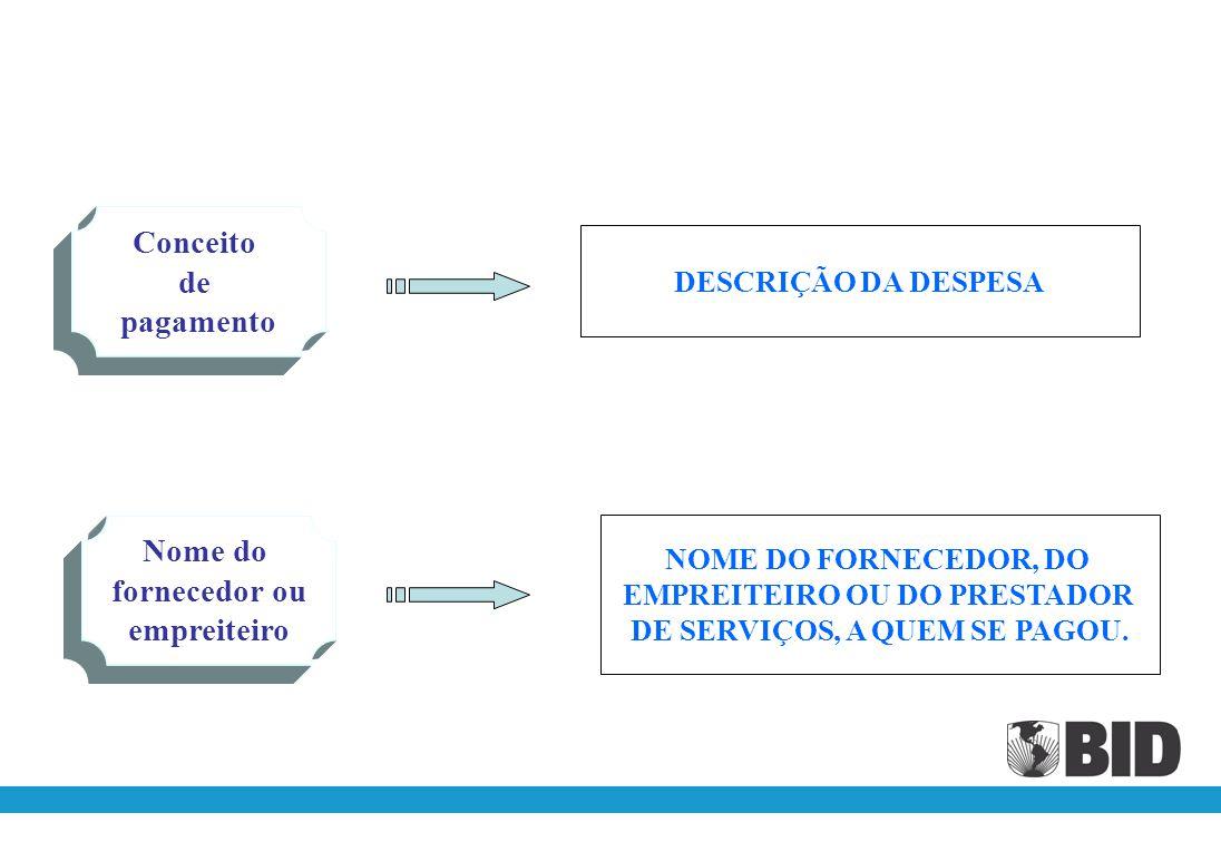 1.Fazer um relatório separado para cada categoria de investimento, previstas no contrato.