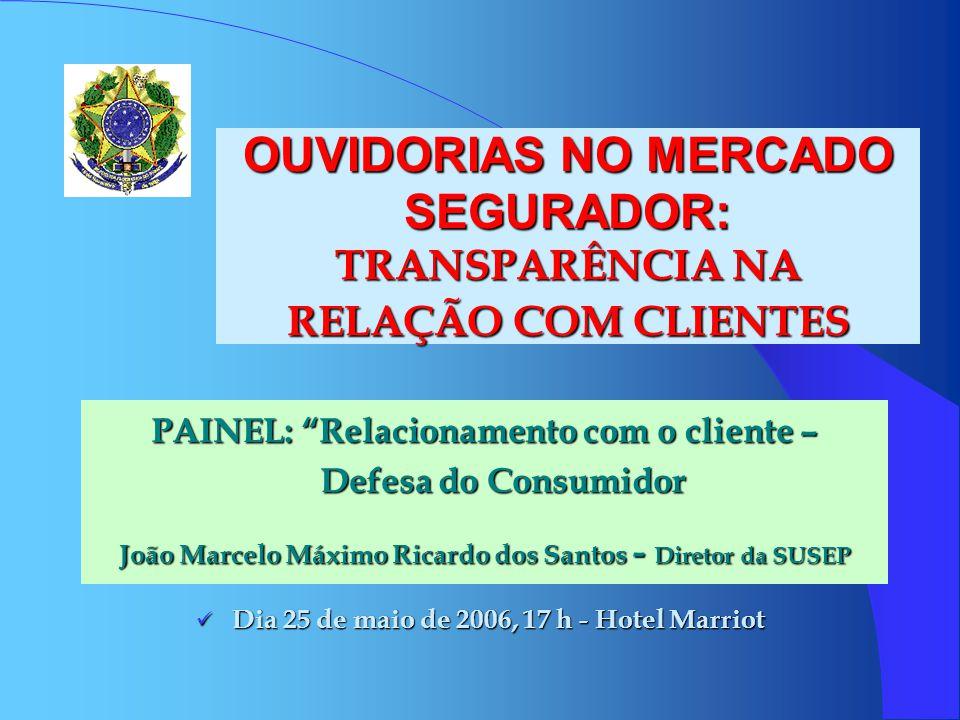 OUVIDORIAS NO MERCADO SEGURADOR: TRANSPARÊNCIA NA RELAÇÃO COM CLIENTES PAINEL: Relacionamento com o cliente – Defesa do Consumidor João Marcelo Máximo